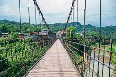 Wooden bridge and Shifen old town of Pingxi line at New Taipei City, Taiwan. Wooden bridge and Shifen old town of Pingxi line in New Taipei City, Taiwan royalty free stock photos