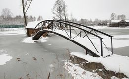 The wooden bridge. The small wooden bridge photographed in a winter season Stock Photography