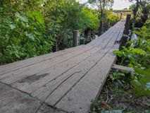 wooden bridge through small river stock photo