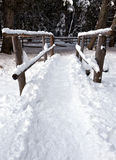 Wooden bridge in snow, Rasun Anterselva Royalty Free Stock Photo