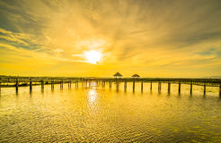 Wooden bridge spanning the lake wider.3 Royalty Free Stock Photos