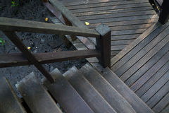 Wooden bridge and stairs deep in the mangrove forest. Wooden bridge and stairs in the deep mangrove forest Stock Photos