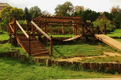 Wooden bridge and steps. In the park there is a small wooden bridge and steps Royalty Free Stock Photos