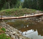 Wooden bridge and stream Royalty Free Stock Image