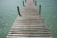 Wooden bridge at sunny day Royalty Free Stock Photography