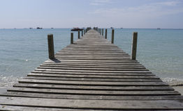 Wooden bridge at sunny day Royalty Free Stock Photo