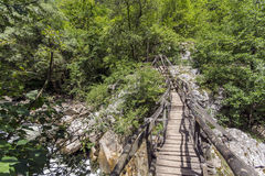 Wooden bridge during sunny morning, Erma River Gorge Royalty Free Stock Photo