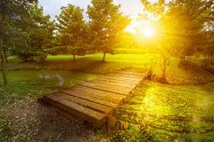 Wooden bridge and sunset Royalty Free Stock Photos