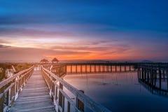 Wooden bridge at sunset in Khao Sam Roi Yod National Park, Prach Royalty Free Stock Photography