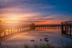 Wooden bridge at sunset in Khao Sam Roi Yod National Park, Prach Royalty Free Stock Photos
