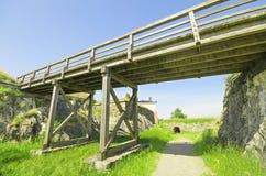 Wooden bridge in suomenlinna island Royalty Free Stock Image