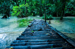 Wooden bridge in Tad Sae Waterfalls stock image
