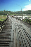 Wooden Bridge in Thailand. The very old hand built bridge at a border of Thailand and Myanmar royalty free stock photography