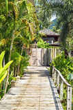 Wooden bridge to the entrance to the villa of resort. Stock Image