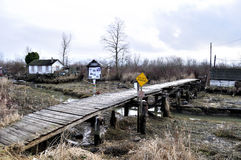 Wooden Bridge to the Finn Slough Heritage & Wetlan Stock Photography