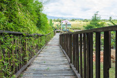 Wooden bridge. In to  the garden Royalty Free Stock Photo