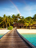 Wooden bridge to island beach resort. Beautiful colorful rainbow over fresh green palm trees, luxury hotel on Maldives island, summer vacation concept stock photo