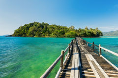 Wooden bridge to the island. Koh Laoya Sea of Thailand Stock Photos