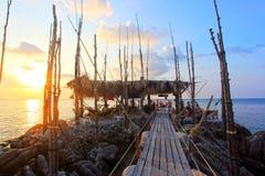 Wooden bridge to the island on Koh Phangan Royalty Free Stock Image