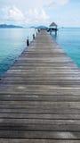 Wooden bridge to port Stock Photos