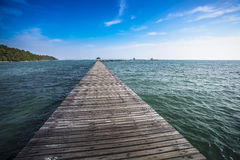 Wooden bridge to the sea. Royalty Free Stock Photo