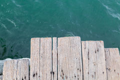 Wooden bridge to the sea at Sattahip Stock Images