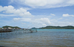 Wooden bridge to the sea,Thailand Royalty Free Stock Photo