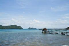 Wooden bridge to the sea Stock Image