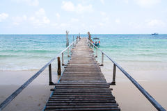 Wooden Bridge to the sea Royalty Free Stock Photo