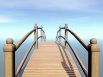 Wooden bridge to the sky - 3D render Stock Images