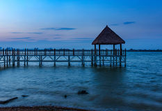 Wooden bridge to the tropical beach. In the Thai's island Royalty Free Stock Photos