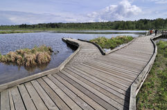 Wooden bridge to the water Stock Photos