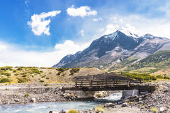 Wooden bridge in Torres del Paine park Royalty Free Stock Photography