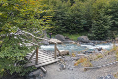 Wooden bridge in Torres del Paine park Stock Photography