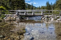 Wooden bridge trail at Morskie Oko lake, Poland Stock Photography