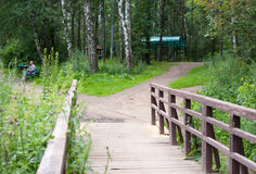 Wooden bridge, trails and resting man Stock Photography