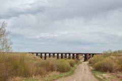Wooden bridge trestle Stock Image