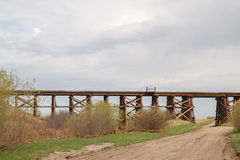 Wooden bridge trestle Royalty Free Stock Photo