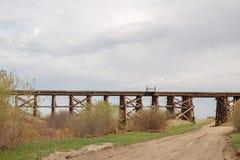 Wooden bridge trestle Royalty Free Stock Photo