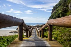 Wooden bridge in a tropical island Stock Images