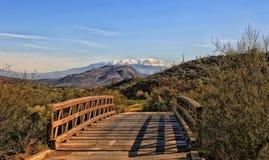 Wooden bridge Tucson Arizona JW Marriott Golfcourse. Sunlit cart path wooden bridge on JW Marriott golf course in Tucson Arizona royalty free stock images