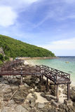 Wooden Bridge on turquoise seascape Royalty Free Stock Image