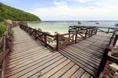 Wooden Bridge on turquoise seascape Royalty Free Stock Images