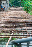 Wooden bridge under construction Royalty Free Stock Photos