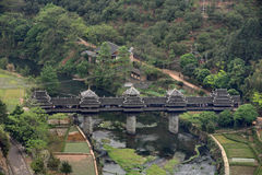 Wooden bridge village Chengyang, tourist attractions in the vici Royalty Free Stock Photos