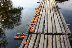 Wooden bridge in village Stock Photos