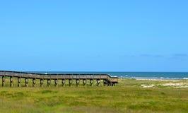 Wooden bridge walk to the ocean beach. Wooden bridge walk to the sand and sea of a Galveston, Texas ocean beach Royalty Free Stock Photography