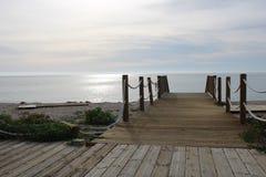 Wooden bridge for walks stock images