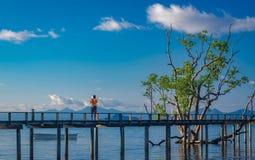 Wooden Bridge Walkway Sea View. Wonderful Tropical Travel In Thailand royalty free stock image