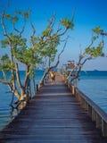 Wooden Bridge Walkway Sea View. Wonderful Tropical Travel In Thailand royalty free stock photos